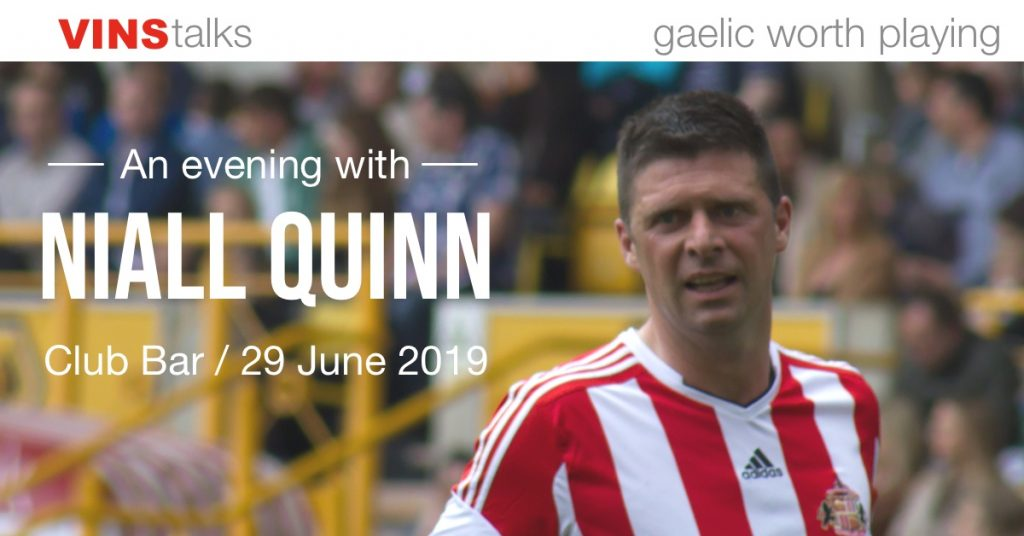 photo of Footballer Niall Quinn to promote a talk in St Vincents