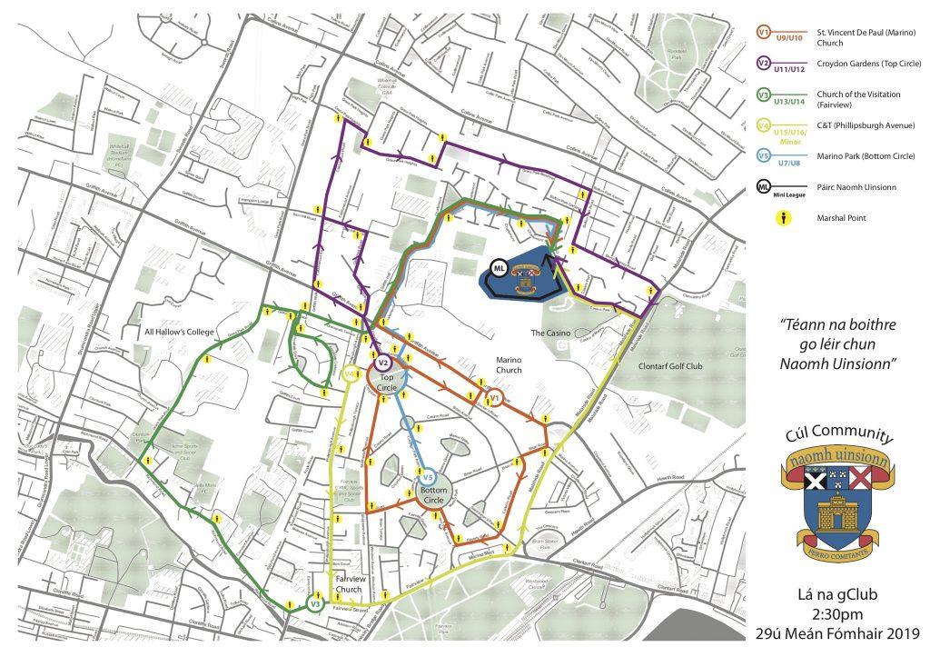 Map of routes around the parish